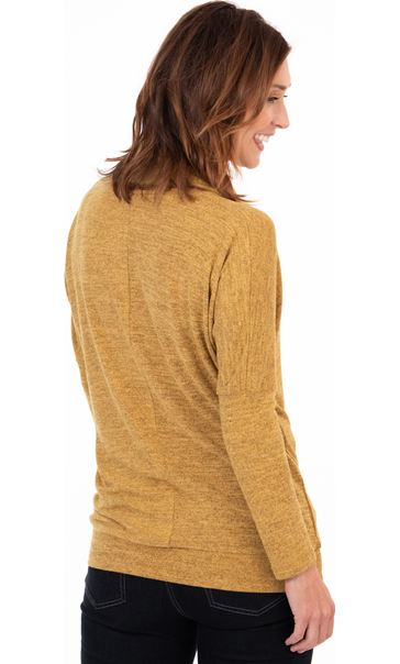 Cowl Neck Relaxed Fit Knitted Tunic Mustard/Black - Gallery Image 2