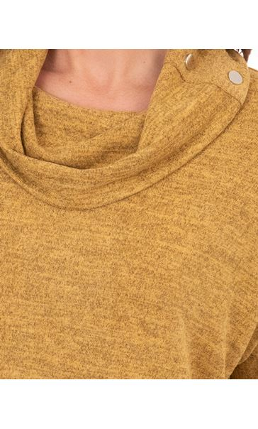 Cowl Neck Relaxed Fit Knitted Tunic Mustard/Black - Gallery Image 3