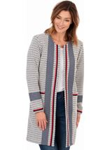 Knitted Open Coat Navy/Ivory - Gallery Image 1