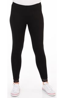 Full Length Lace Trim Jersey Leggings