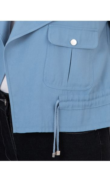 Drape Front Lightweight Jacket Blue - Gallery Image 3
