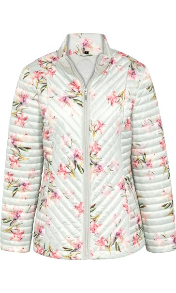 Anna Rose Floral Print Padded Coat Soft Green Floral