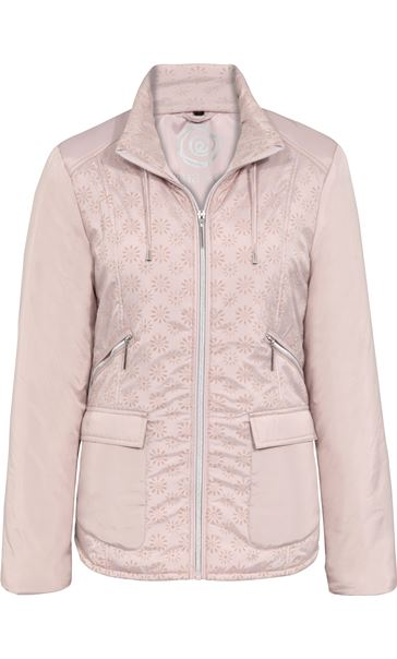 Anna Rose Flocked Panel Zip Coat Powder