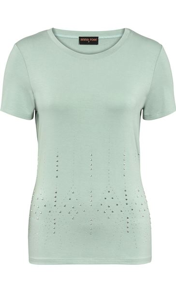 Anna Rose Short Sleeve Embellished Jersey Top Mint
