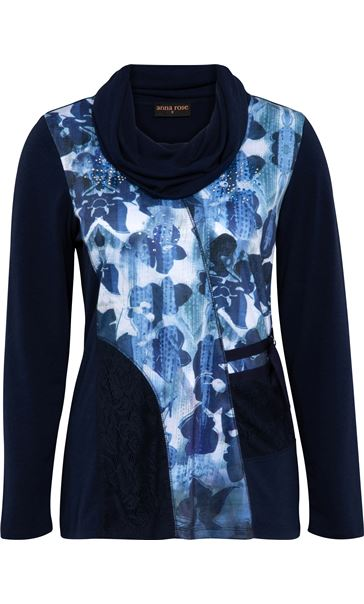 Anna Rose Cowl Neck Embellished Top Navy/Blues