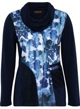 Anna Rose Cowl Neck Embellished Top Navy/Blues - Gallery Image 1