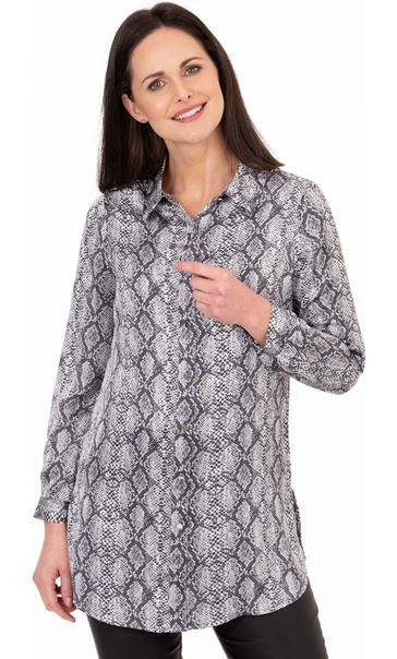 Snake Print Longline Button Shirt Grey/Black