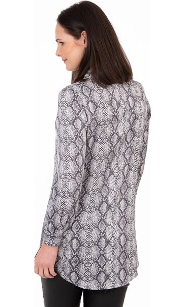 Snake Print Longline Button Shirt Grey/Black - Gallery Image 2