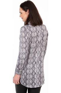Snake Print Longline Button Shirt