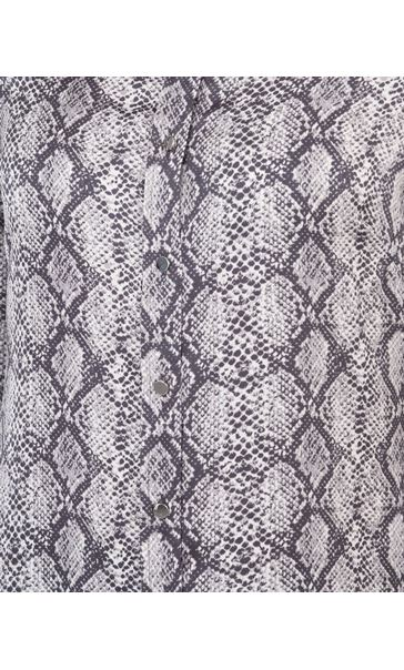 Snake Print Longline Button Shirt Grey/Black - Gallery Image 3