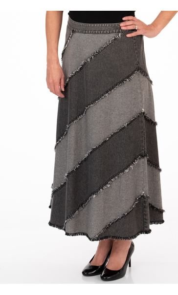 Bias Frayed Panelled Denim Maxi Skirt