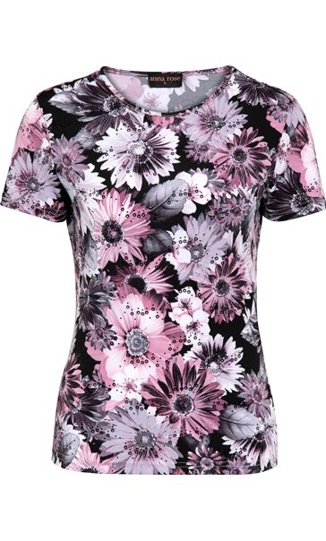 Anna Rose Printed Short Sleeve Stretch Top Pink/Multi