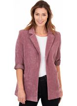 Stretch Cord Open Jacket Damson - Gallery Image 1