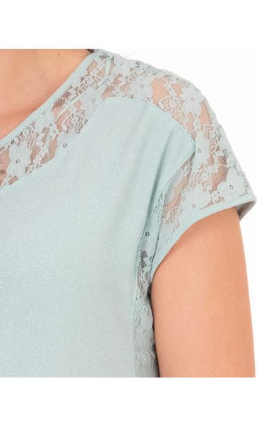 Lace Trim And Glitter Top Mint - Gallery Image 3