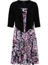 Anna Rose Floral Print Dress With Cover Up Pink Multi - Gallery Image 1
