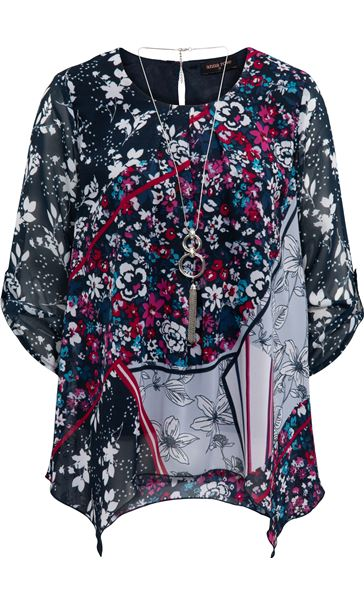 Anna Rose Printed Dip Hem Top With Necklace Navy/Pink/Multi