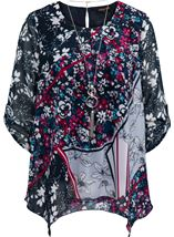 Anna Rose Printed Dip Hem Top With Necklace Navy/Pink/Multi - Gallery Image 1
