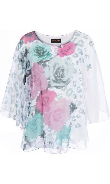 Anna Rose Embellished Floral Top - Ivory