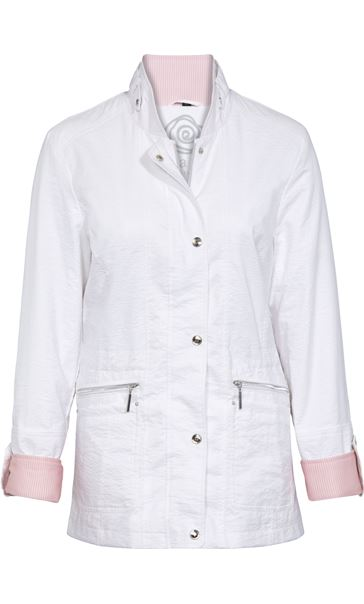 Anna Rose Lightweight Contrast Cuff Coat White
