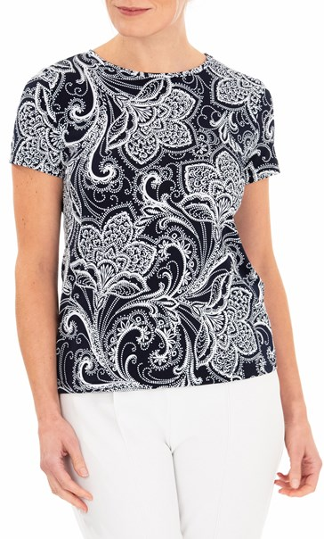 Anna Rose Textured Print Stretch Top Navy/Ivory