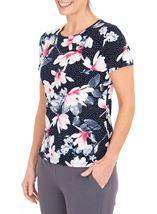 Anna Rose Floral Textured Stretch Top Navy/Pink - Gallery Image 1