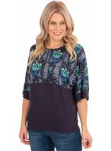 Wide Sleeve Half Print Top