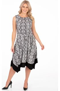 Snake Printed Sleeveless Hanky Hem Dress