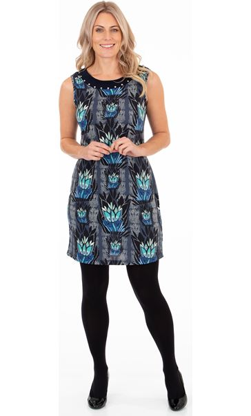 Printed Sleeveless Stretch Dress Navy/Blue