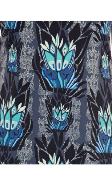 Printed Sleeveless Stretch Dress Navy/Blue - Gallery Image 3