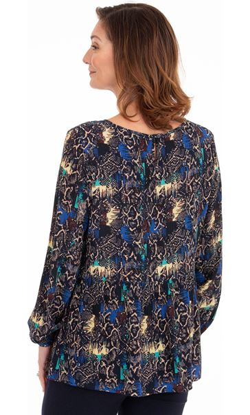 Printed Relaxed Fit Top Multi Blue/Navy - Gallery Image 2