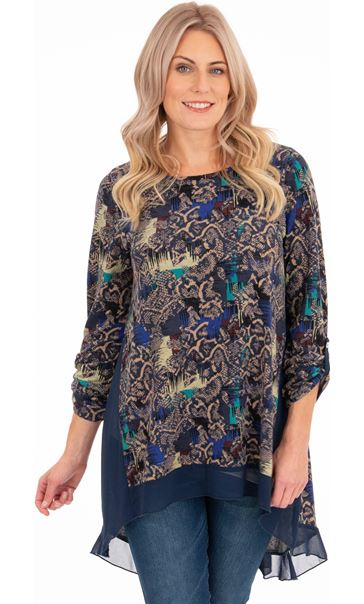 Oversized Printed Top Multi Blue/Navy