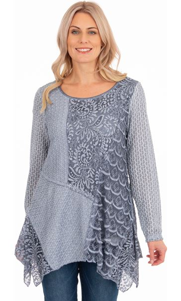 Layered Long Sleeve Lace Dip Hem Tunic