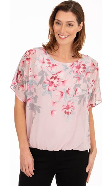 Embellished Floral Print Chiffon Top Pink
