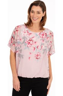 Embellished Floral Print Chiffon Top