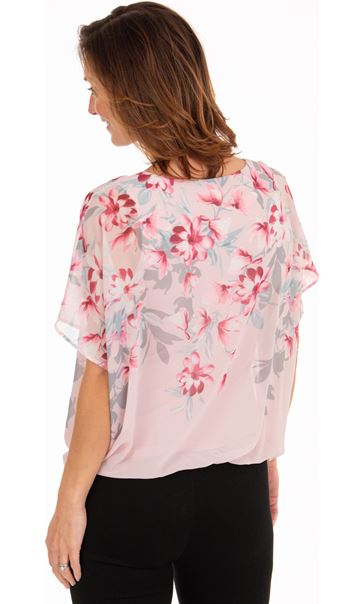 Embellished Floral Print Chiffon Top Pink - Gallery Image 2