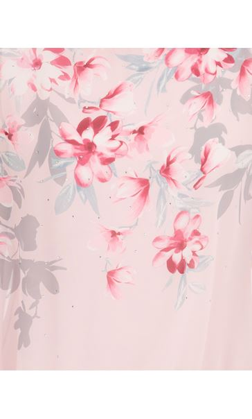 Embellished Floral Print Chiffon Top Pink - Gallery Image 3