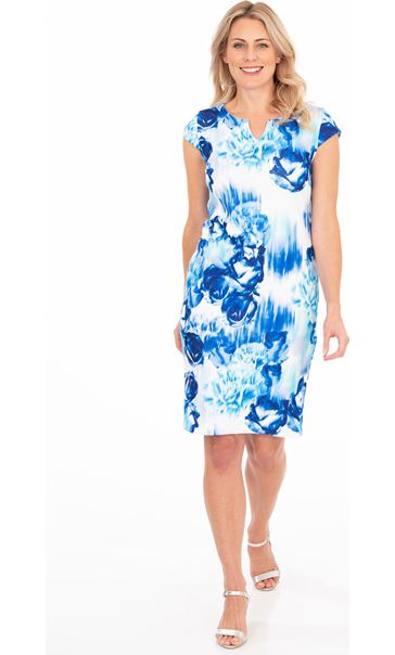 Cap Sleeve Floral Print Scuba Dress Blue/Ivory - Gallery Image 1