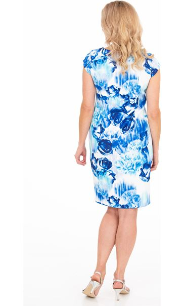 Cap Sleeve Floral Print Scuba Dress Blue/Ivory - Gallery Image 2