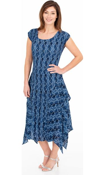 Printed Pleat Dip Hem Midi Dress French Blue/Cerise