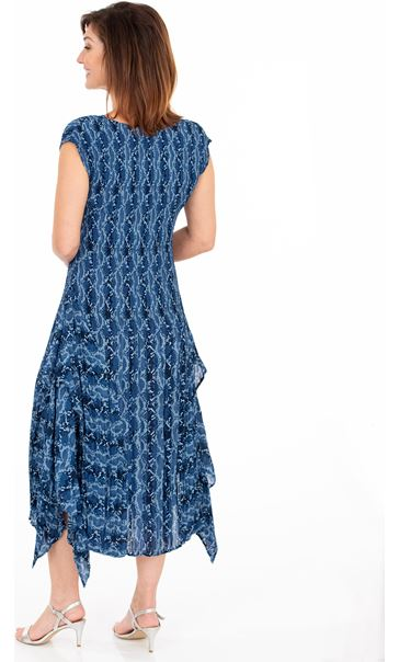 Printed Pleat Dip Hem Midi Dress French Blue/Cerise - Gallery Image 2