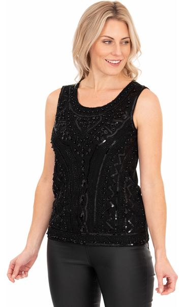 Sleeveless Beaded And Sequin Top Black