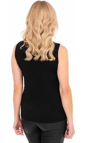 Sleeveless Beaded And Sequin Top Black - Gallery Image 2