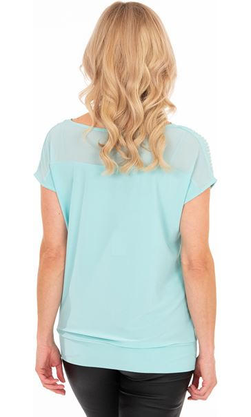Embellished Cowl Neck Chiffon Top Blue - Gallery Image 2