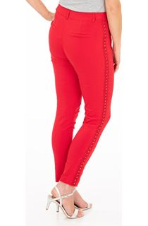 Embellished Slim Leg Stretch Trousers - Red