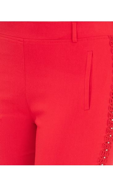 Embellished Slim Leg Stretch Trousers Red - Gallery Image 3