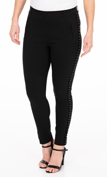 Embellished Slim Leg Stretch Trousers - Black
