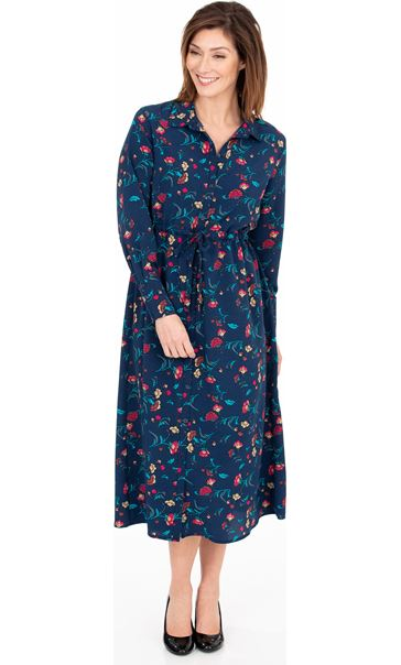 Long Sleeve Floral Print Midi Shirt Dress French Blue/Cerise