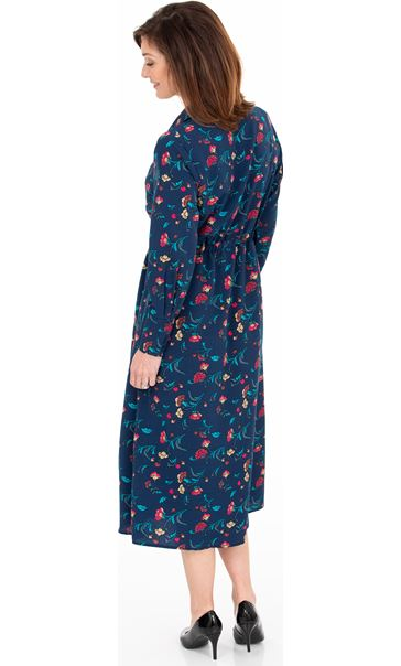 Long Sleeve Floral Print Midi Shirt Dress French Blue/Cerise - Gallery Image 2