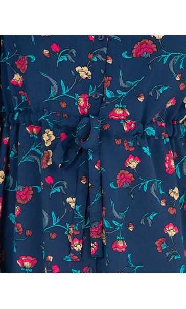 Long Sleeve Floral Print Midi Shirt Dress French Blue/Cerise - Gallery Image 3