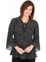 Pleated Spot Print Georgette Top